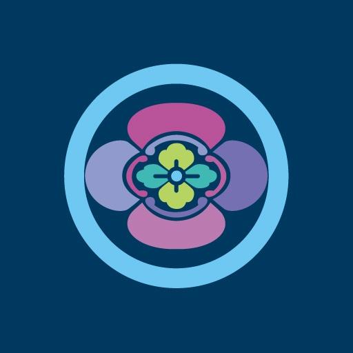 丸に木瓜[藍]
