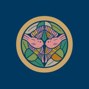 上杉家笹[藍](別名:竹に雀)