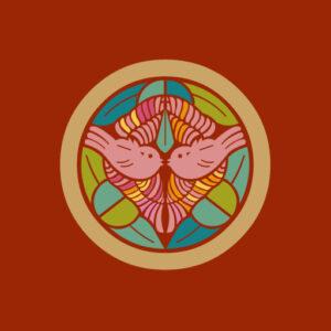 上杉家笹[朱](別名:竹に雀)