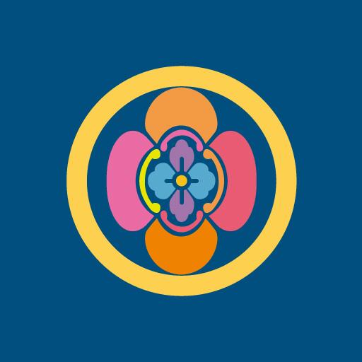 丸に堅木瓜[藍]