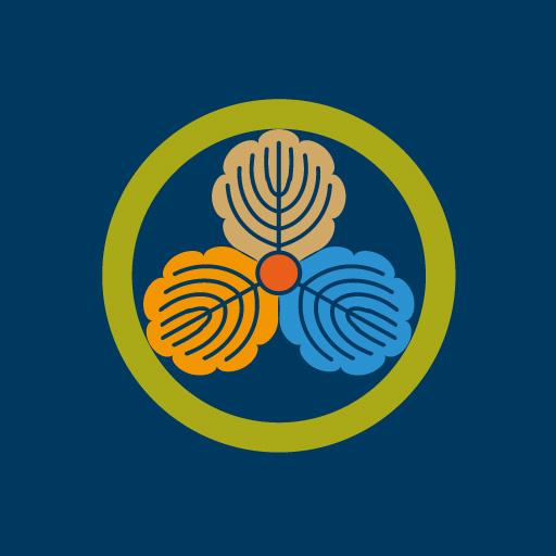 丸に三つ柏[藍]