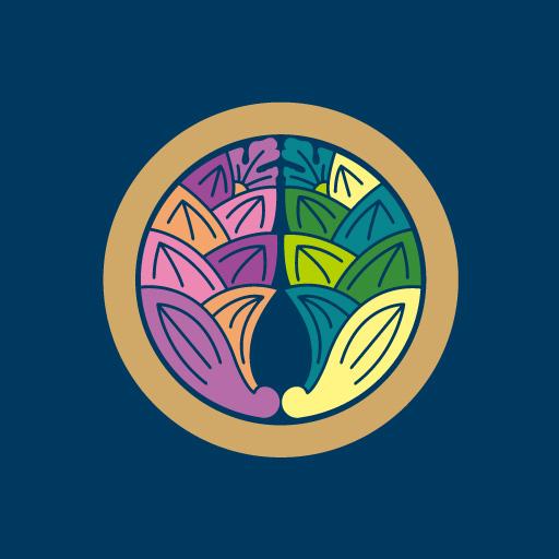丸に抱き茗荷[藍]