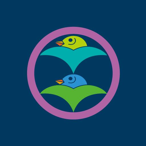 丸に二つ雁金[藍]
