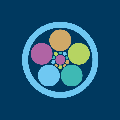 丸に梅鉢[藍]