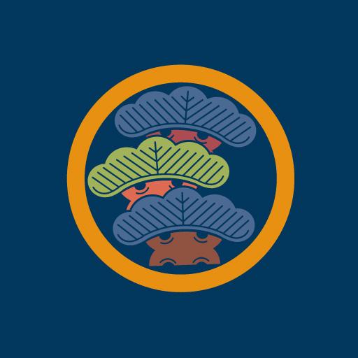 丸に左三階松[藍]