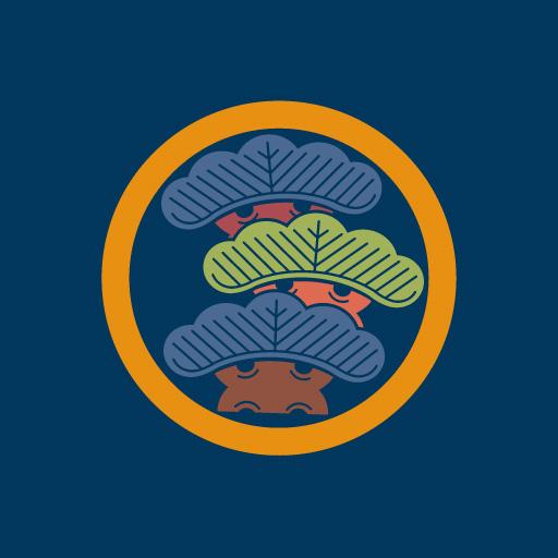 丸に右三階松[藍]