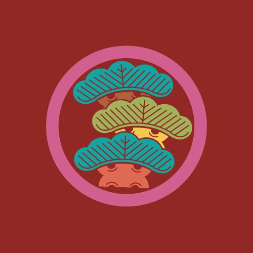 丸に右三階松[朱]