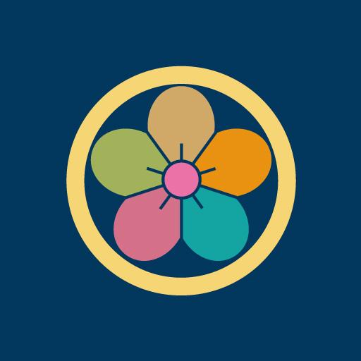 丸に梅花[藍]
