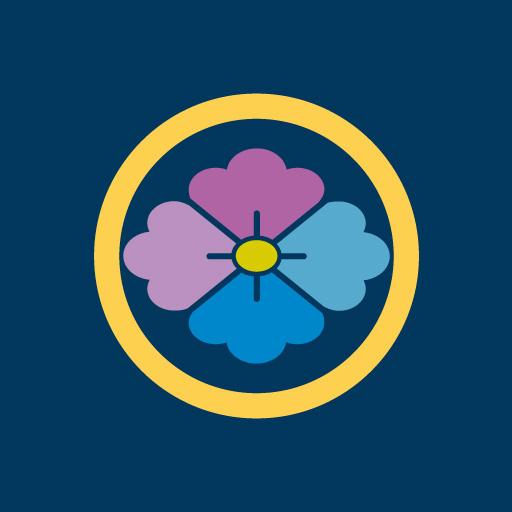 丸に花菱[藍]