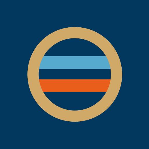 丸に二つ引き[藍]
