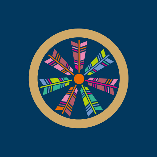 丸に七つ矢車[藍]