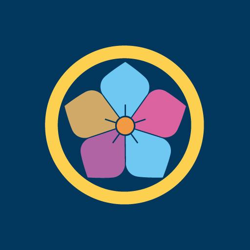 丸に桔梗[藍]