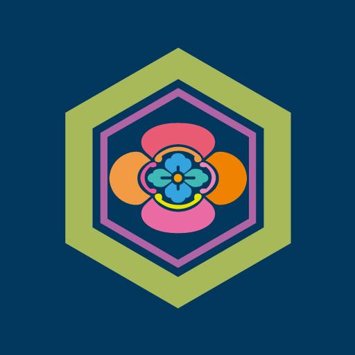 亀甲に木瓜[藍]