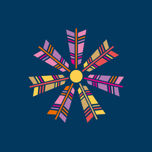 七つ矢車[藍]