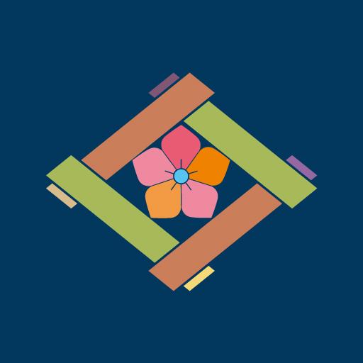 組み井桁に桔梗[藍]