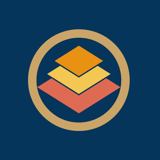 丸に三階菱[藍]