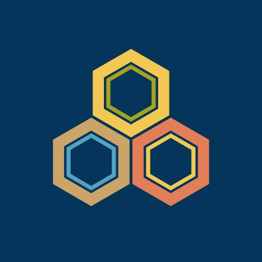 三つ盛り亀甲[藍]