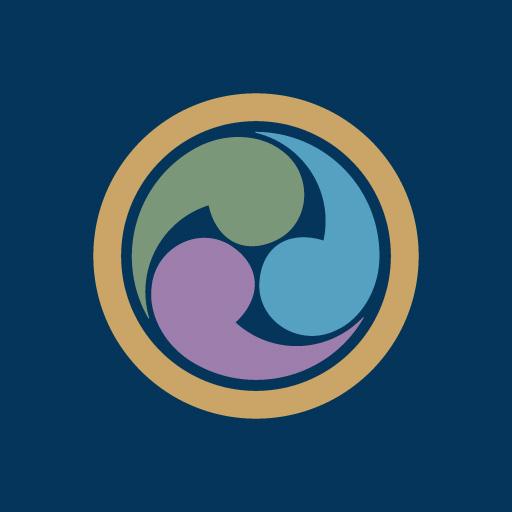 丸に左三つ巴[藍]