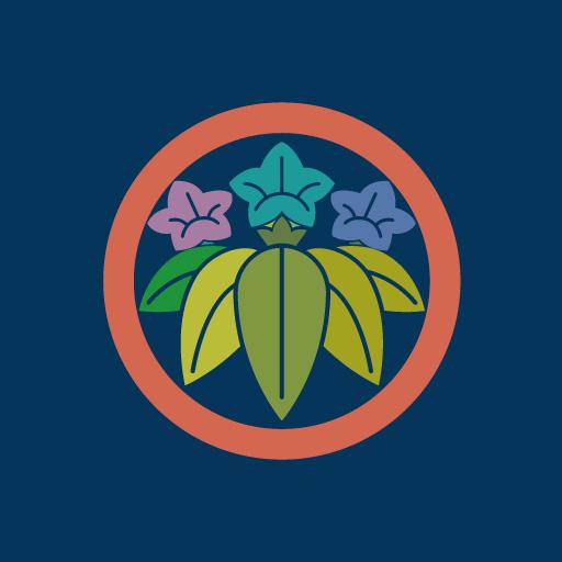 丸に笹竜胆[藍]