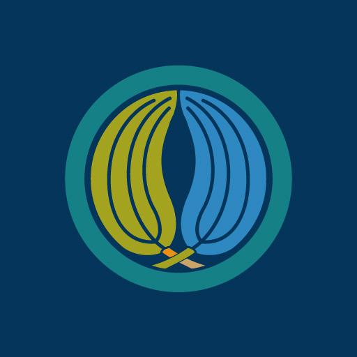 丸に抱き梛の葉[藍]