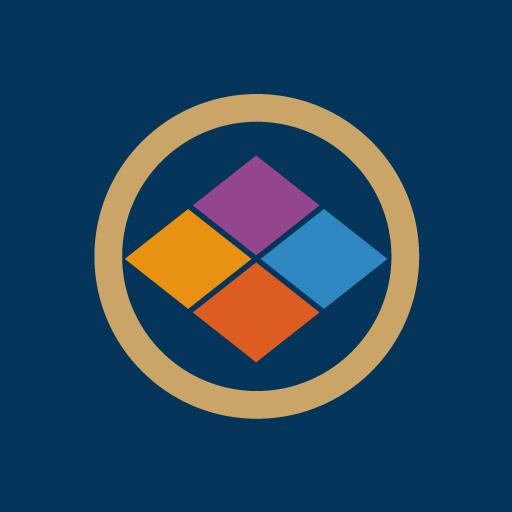 丸に四つ割菱[藍]