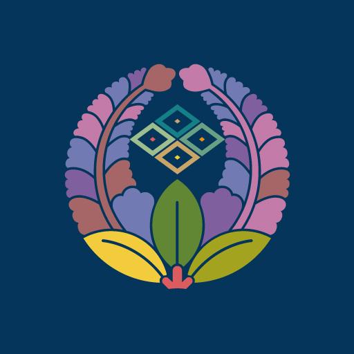 上り藤に中陰四つ目菱[藍]