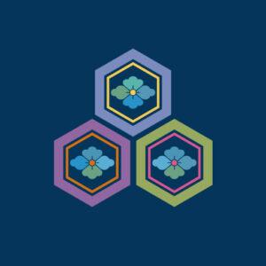 三つ盛り亀甲花菱[藍]