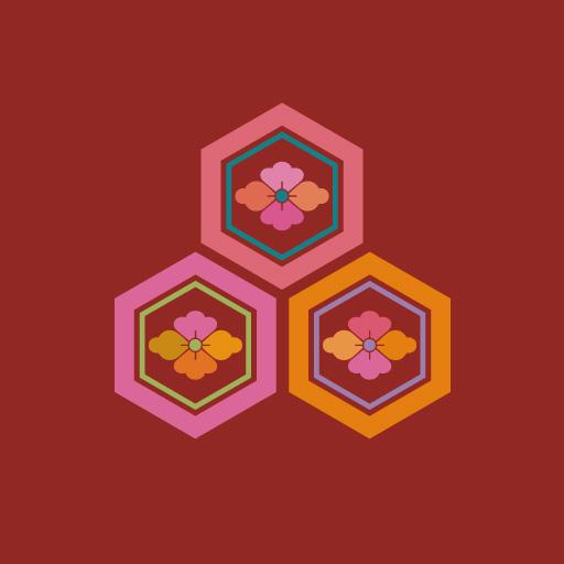 三つ盛り亀甲花菱[朱]