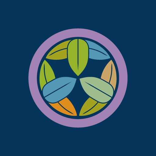 丸に九枚笹[藍]