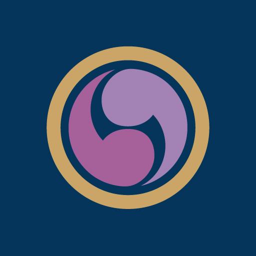丸に右二つ巴[藍]