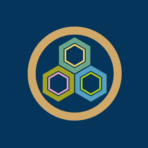 丸に三つ盛り亀甲[藍]